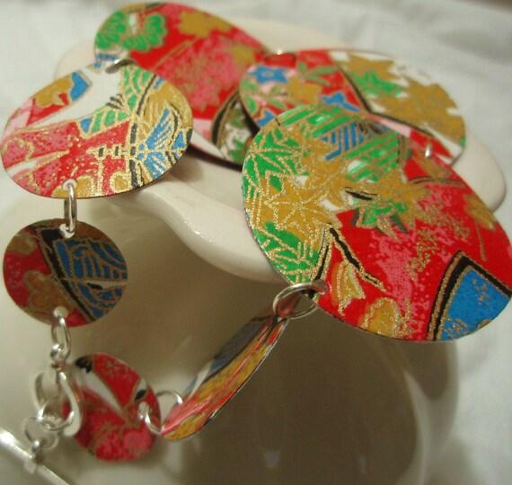 Red Multi-colored Origami Bracelet