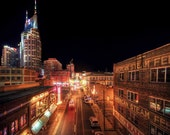 2nd Avenue - Downtown Nashville Tennessee at Night - 6x9 Fine Art Print