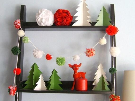 Christmas pom-pom garland -- Eight feet of fluffy festivity