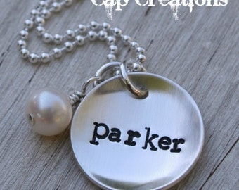 Handstamped Sterling Silver Name Necklace With Freshwater Pearl