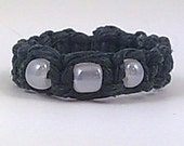 Black Hemp Ring with Pearlescent White Glass Beads