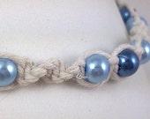 White Hemp Bracelet with Light Blue and Dark Blue Glass Pearl Beads