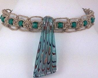Natural Hemp Choker with Glass Pendant and Emerald Faceted Czech Glass