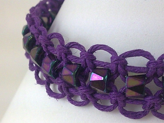 Purple Hemp Bracelet with Purple Iris Faceted Czech Glass Beads
