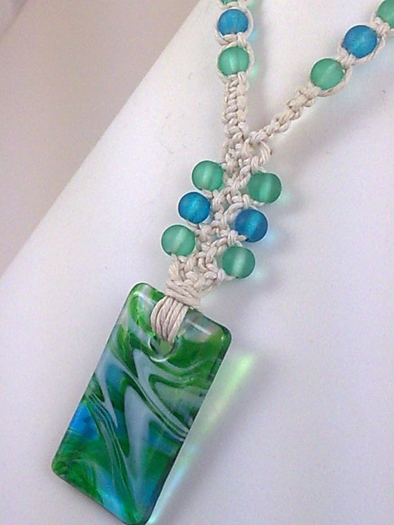 White Hemp Necklace with Blue and Green Glass Pendant and Matching Frosted Glass Beads