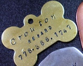 brass hand stamped pet tag