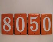 Vi n t a g e  ORANGE Enamel and Porcelain House Number 1-ZERO Left for Sale