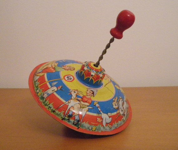 Best Antique Toys : Vintage toy spinning top antique western germany