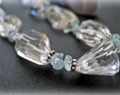 Avalon - AA Step Cut Rock Crystal and Aquamarine Necklace