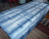 66 inches x 72 inches shibori indigo-dyed tablecloth