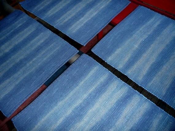 Set of 4 indigo-dyed shibori striped placemats