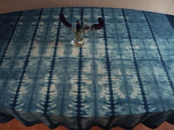 Indigo shibori cotton tablecloth
