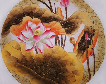 original painting oriental art chinese traditional painting chinese water colour painting- lovely lotus