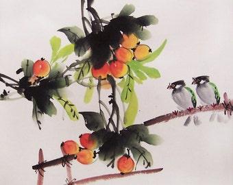 Original painting oriental art chinese art-fruit  with  birds
