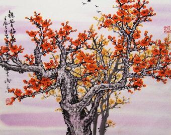 Original painting oriental art chinese art -Lovely cherry blossom tree No.1