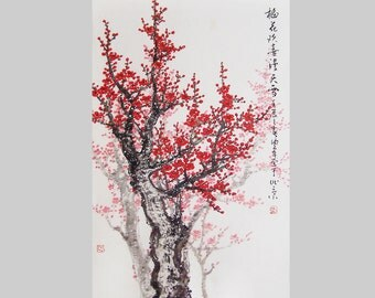 Cherry Blossom  painting chinese watercolour painting original chinese art-cherry blossom tree No.22