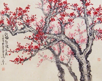cherry blossom tree painting Original painting chinese art oriental art-Lovely cherry blossom tree No.44