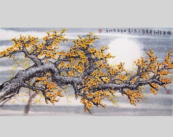 Original painting  chinese Art -Lovely cherry blossom tree No.27