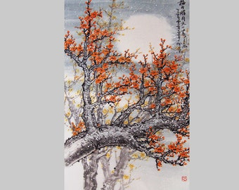 Original painting  chinese Art -Lovely cherry blossom tree No.25