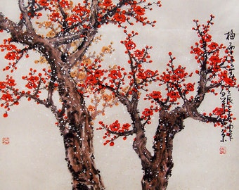 Original painting chinese art -Lovely cherry blossom tree No.42