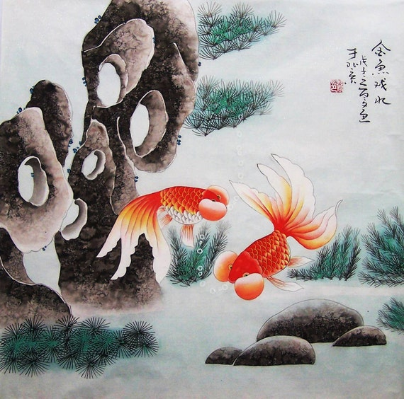 original painting oriental art chinese traditional painting- lovely golden fishes