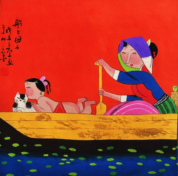 Original painting morden art abstract watercolour painting -mom ,baby and cat on the boat