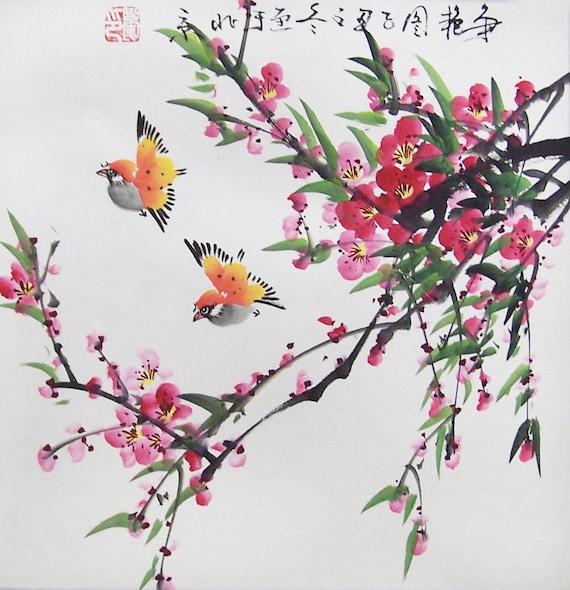 Original painting oriental art chinese art-flower with  birds