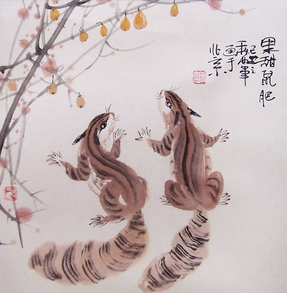 Original painting chinese painting  oriental art chinese art-fruit with squirrels