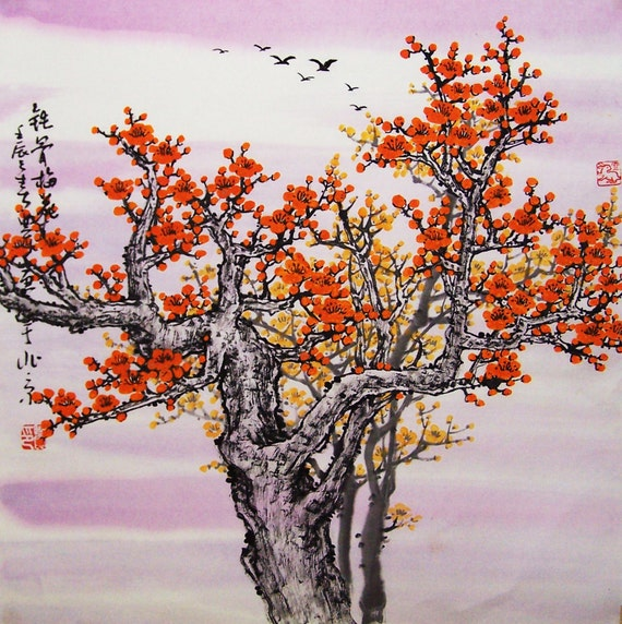 Original painting oriental art chinese art -Lovely cherry blossom tree No.1