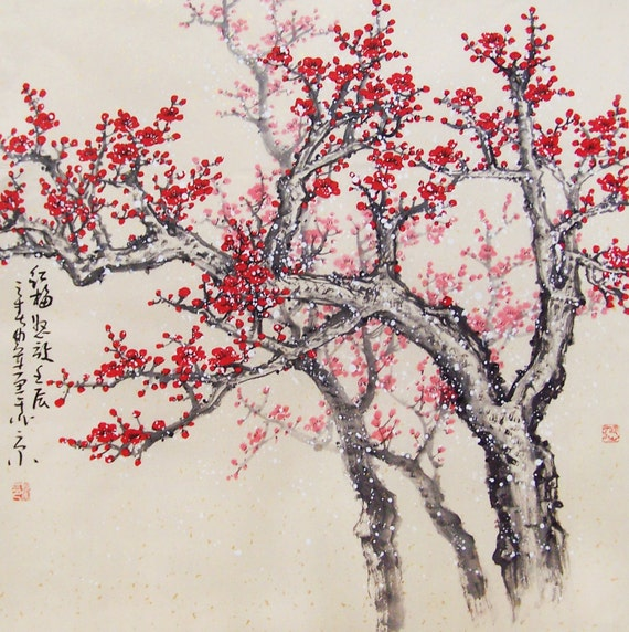 cherry blossom tree painting Original painting chinese art