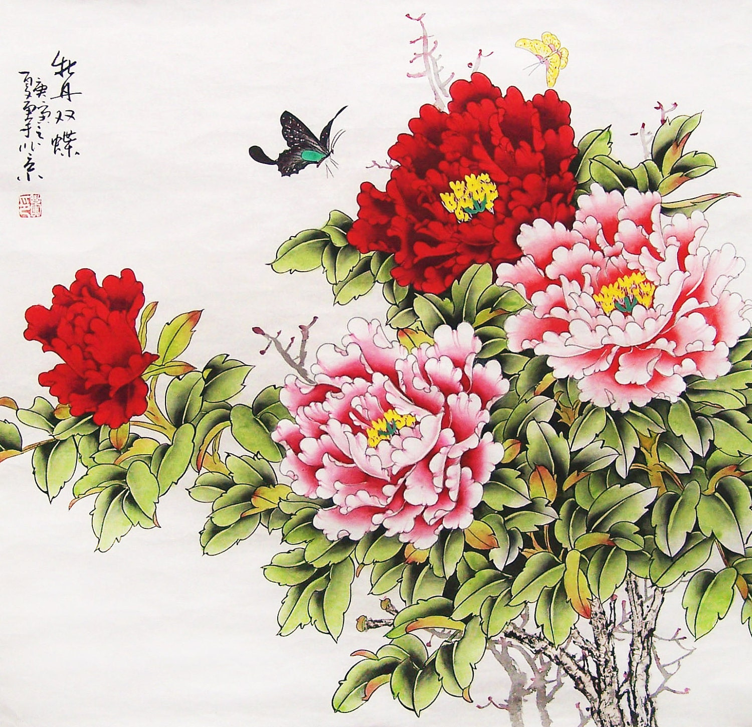Original painting oriental art chinese l art peony with for Chinese mural art