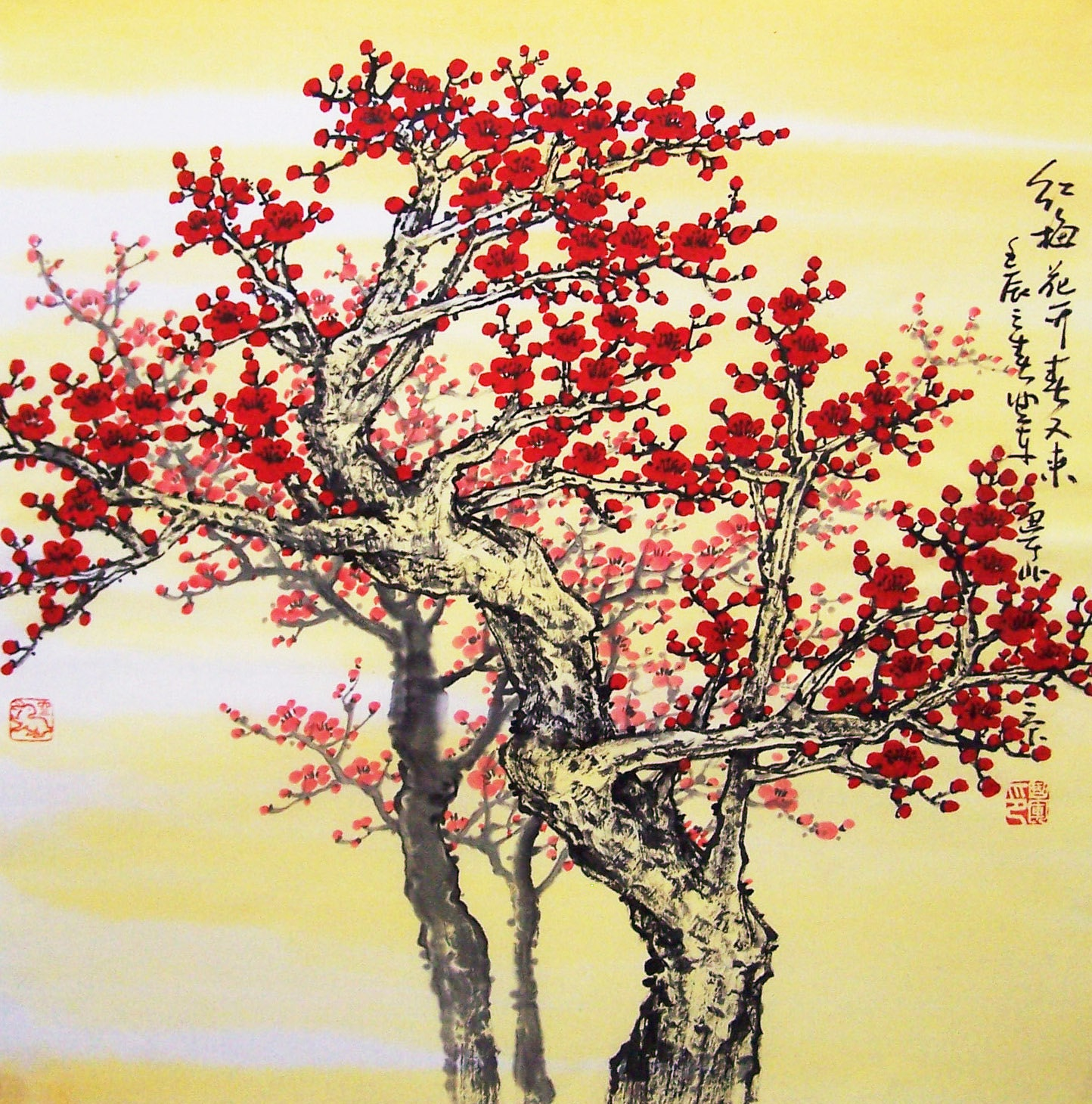 Original painting oriental art chinese art Lovely cherry ...