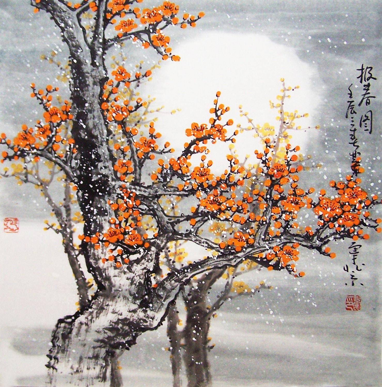 Original painting chinese art Lovely cherry blossom tree