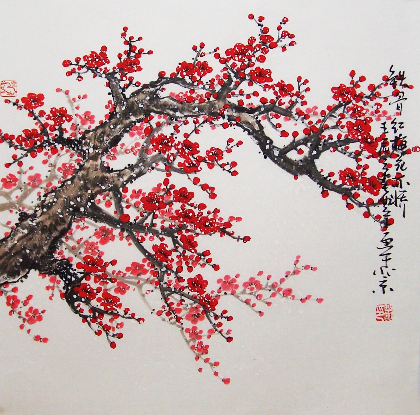 Original painting chinese art Lovely cherry blossom tree ...