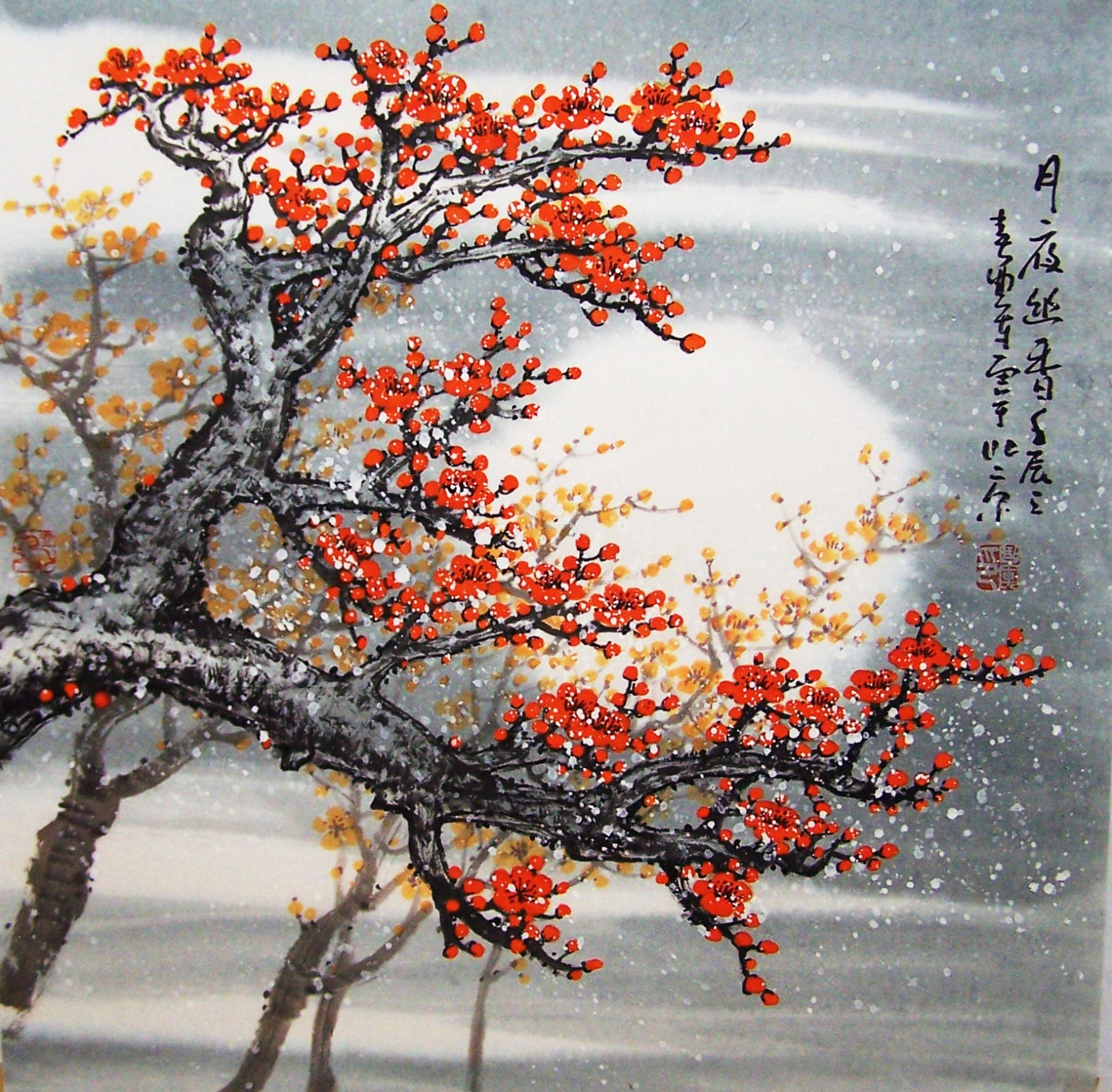 Original painting cherry blossom painting chinese painting