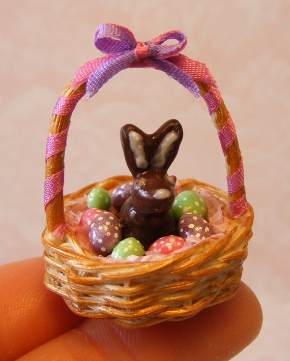 SALE 12th Scale Doll House Easter Chocolate Bunny in a Basket