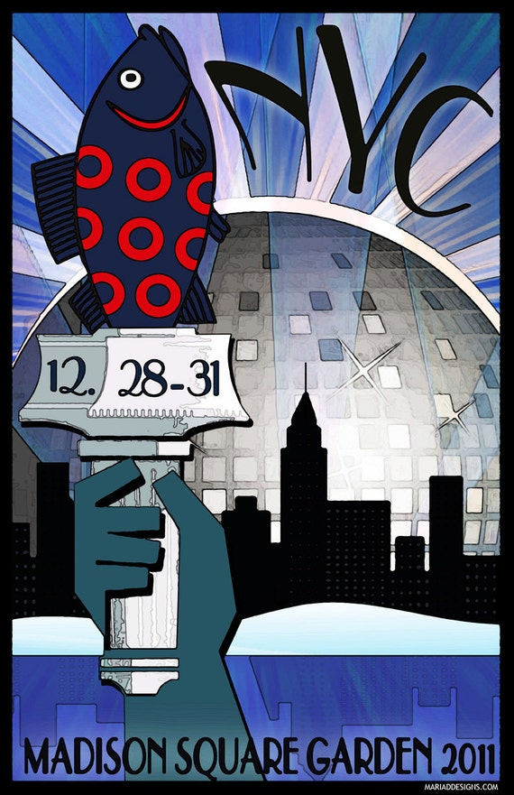 Phish poster madison square garden nyc nye 2011 by - Phish madison square garden tickets ...