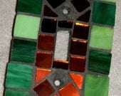 Mosaic Glass Hand Tiled Single Toggle Switchplate Switch Plate Cover Green Copper
