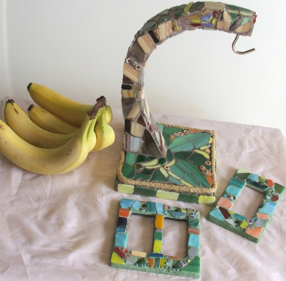 Mosaic Hand Tiled Banana Tree Kitchen Tropical Island Parrot Art Glass