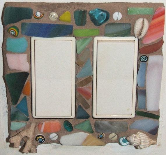 Mosaic Hand Tiled Light Switch Plate Cover Double Rocker Decora Sand Drift