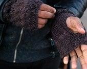 men's knit fingerless gloves in chocolate brown