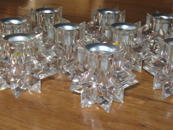 Vintage 10 Clear Acrylic Christmas Star Taper Candle Holders