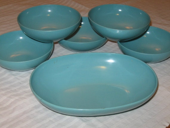 Vintage Set Turquoise Prolon Melmac Dinnerware 5 Cereal Bowls and Serving Bowl