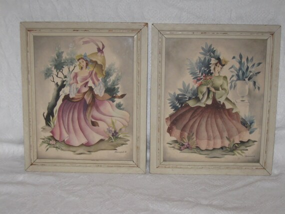 Vintage Pair 40s Lovely Lady French Fashion Costume Watercolor Framed Prints by Beranrd