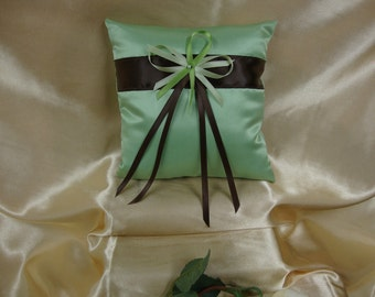 Lime Green and Brown Ring Bearer Pillow