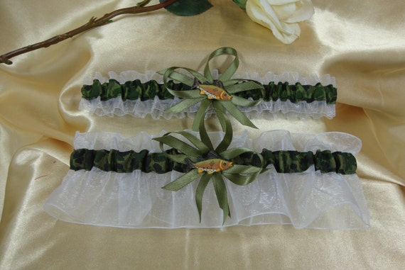 Camouflage and White Wedding Garter Set with Fish Charms