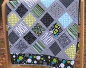 Modern and Funky Quilt Baby or Lap Size Groovy Guitar Fabric