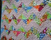 Chevron Baby or Lap Quilt in Amy Butler Soul Blossom fabrics