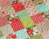 Vintage Modern Red Pink Aqua Lap or Baby Patchwork Quilt