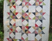Reunion Stars Quilt -- red, blue, gray,  green, white, gold -- scrappy, modern, fresh -- lap or baby
